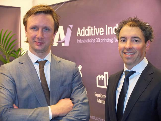 Jonas Wintermans (l) en Daan Kersten, initiatiefnemers van Additive Industries
