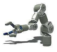 Een voorbeeld van een servicerobot, zoals Schunk deze ziet in een CNC-werkplaats.