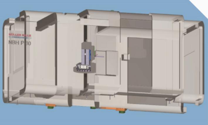 Het virtuele model waarmee in Esprit de eerste bewerkingen op de machine van Hüller Hille werden geprogrammeerd (afbeeldingen: DP Technology).