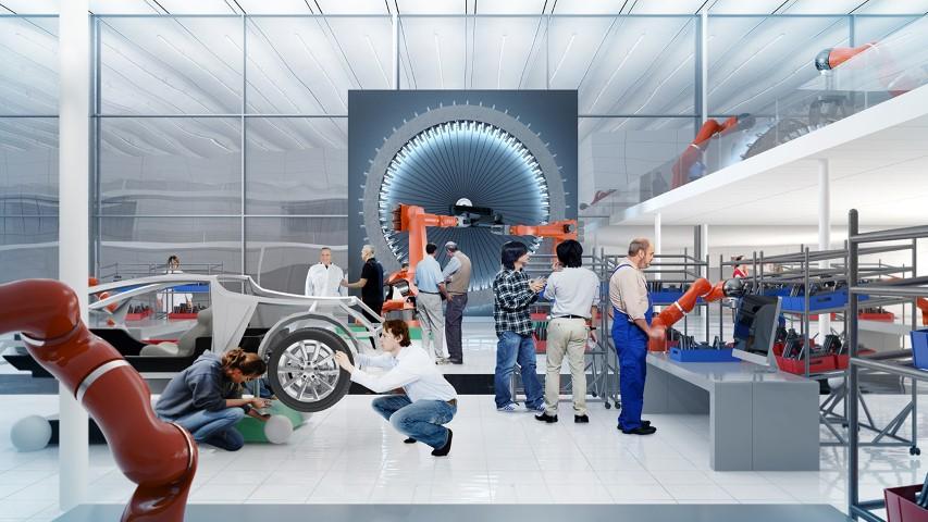 Toekomstvisie op automatisering van het Fraunhofer IPA. Mens en robot werken samen.