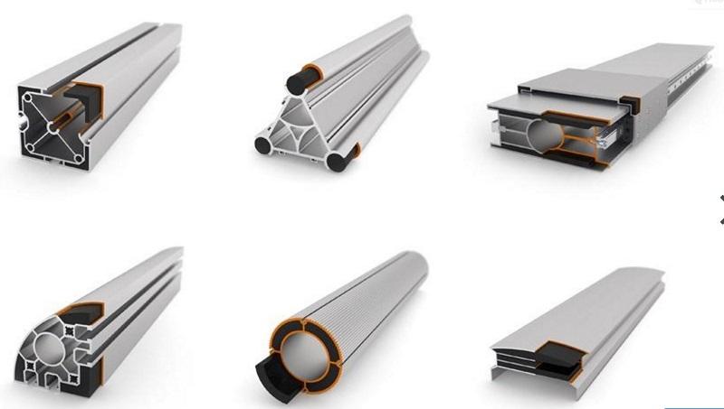 Enkele toepassingen van de carbon versterking in de aluminium profielen.