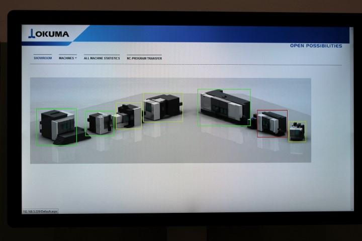 Het startscherm van het nieuwe monitoringsysteem dat Okuma heeft ontwikkeld.