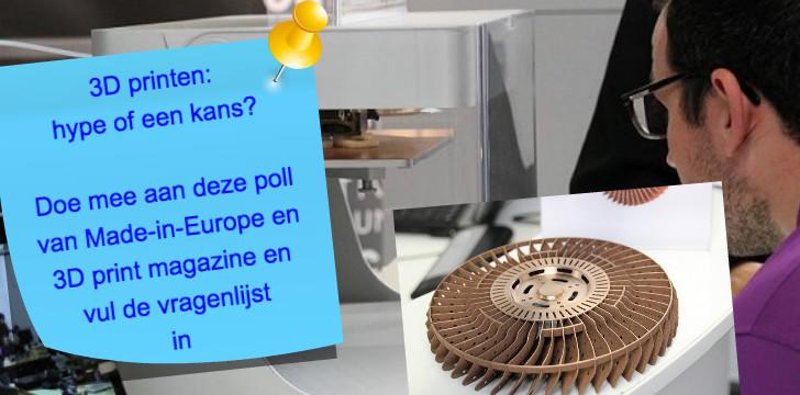 Doe mee aan de poll rond 3D printen. Klik op de afbeelding en vul de vragenlijst in.